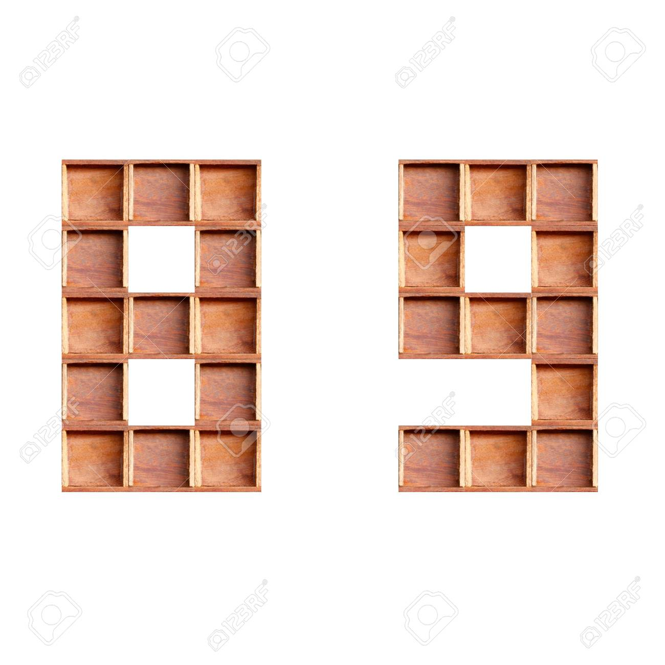 wooden box made of numbers  isolated on white background Stock Photo - 28232170