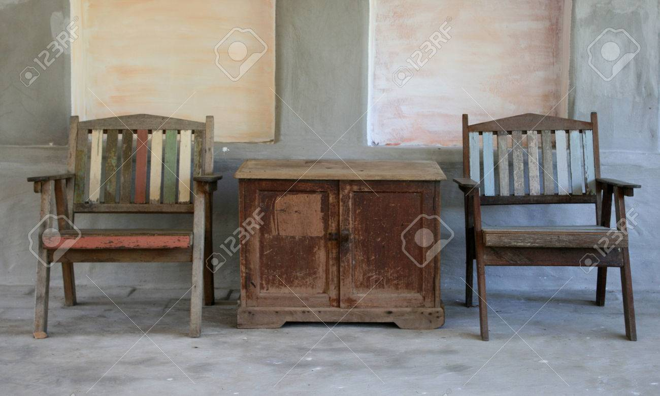 Stock Photo   Table And Old Style Chairs Set