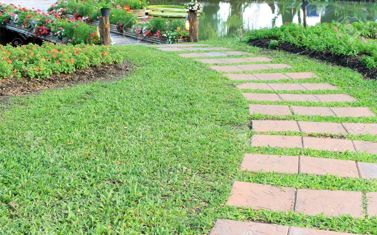 Puente De Bambu Con Flores En El Jardin Fotos Retratos Imagenes Y - Jardin-bambu