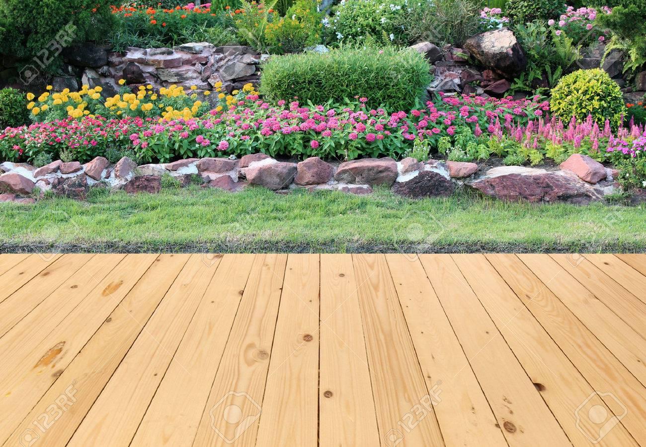Garden Landscape With Wood Floor Stock Photo   50262579