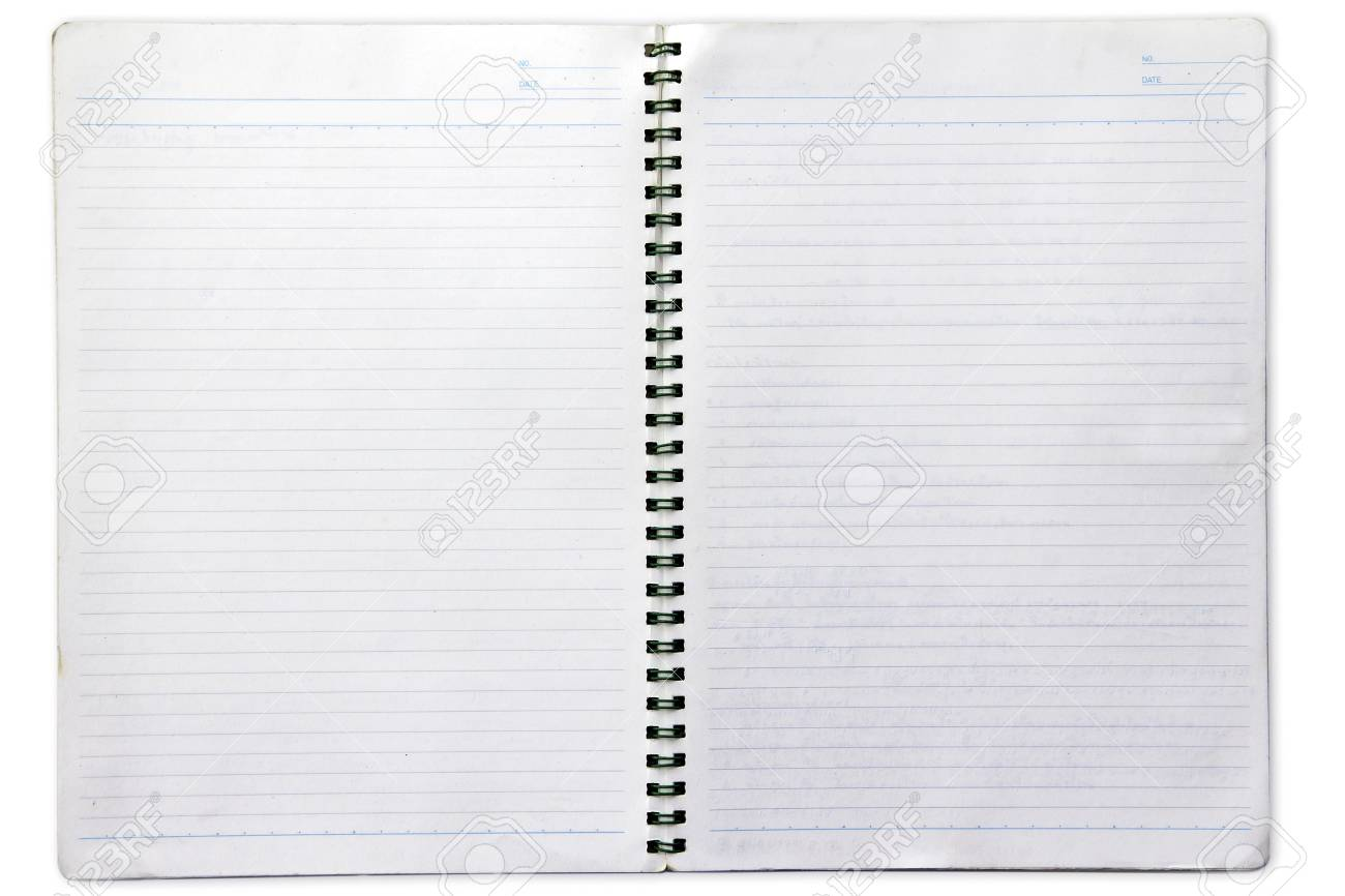 Opened note book on white background Stock Photo - 16428365