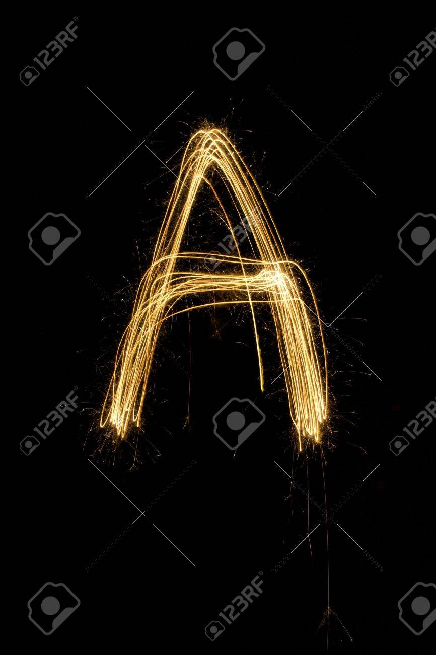 sparkler firework light alphabet Stock Photo - 16427121