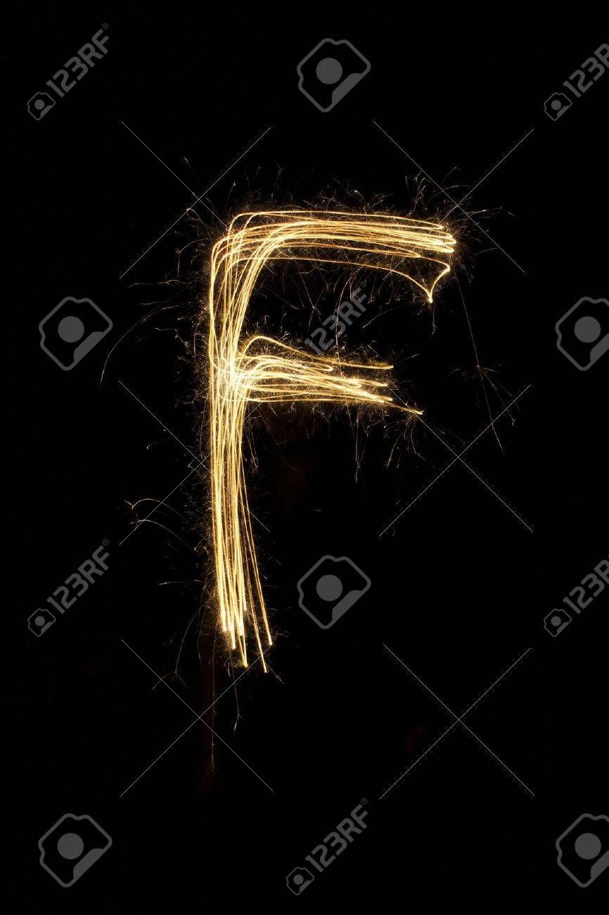 sparkler firework light alphabet Stock Photo - 16427122