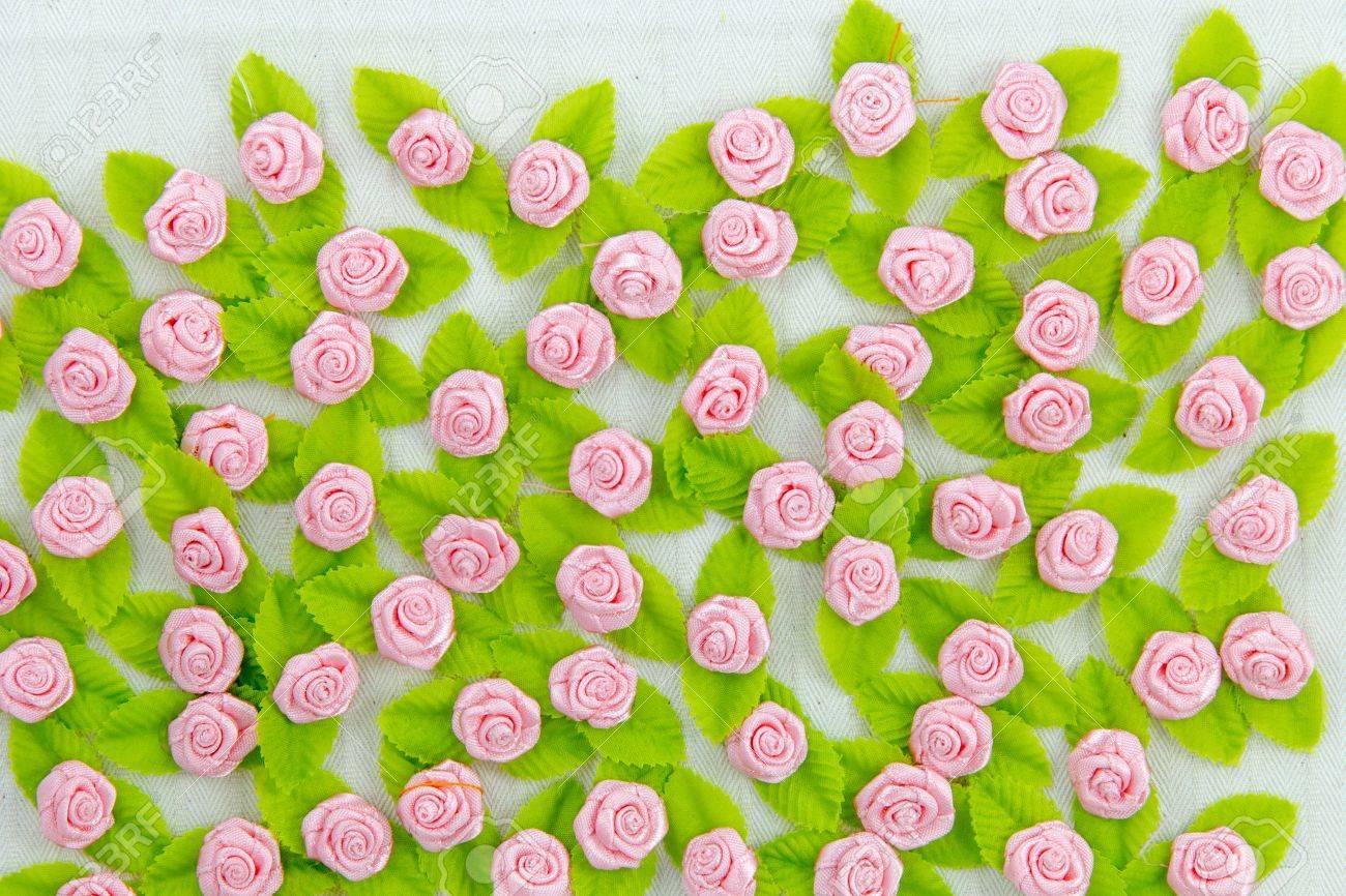 Pink fabric flower wallpaper Stock Photo - 17469080