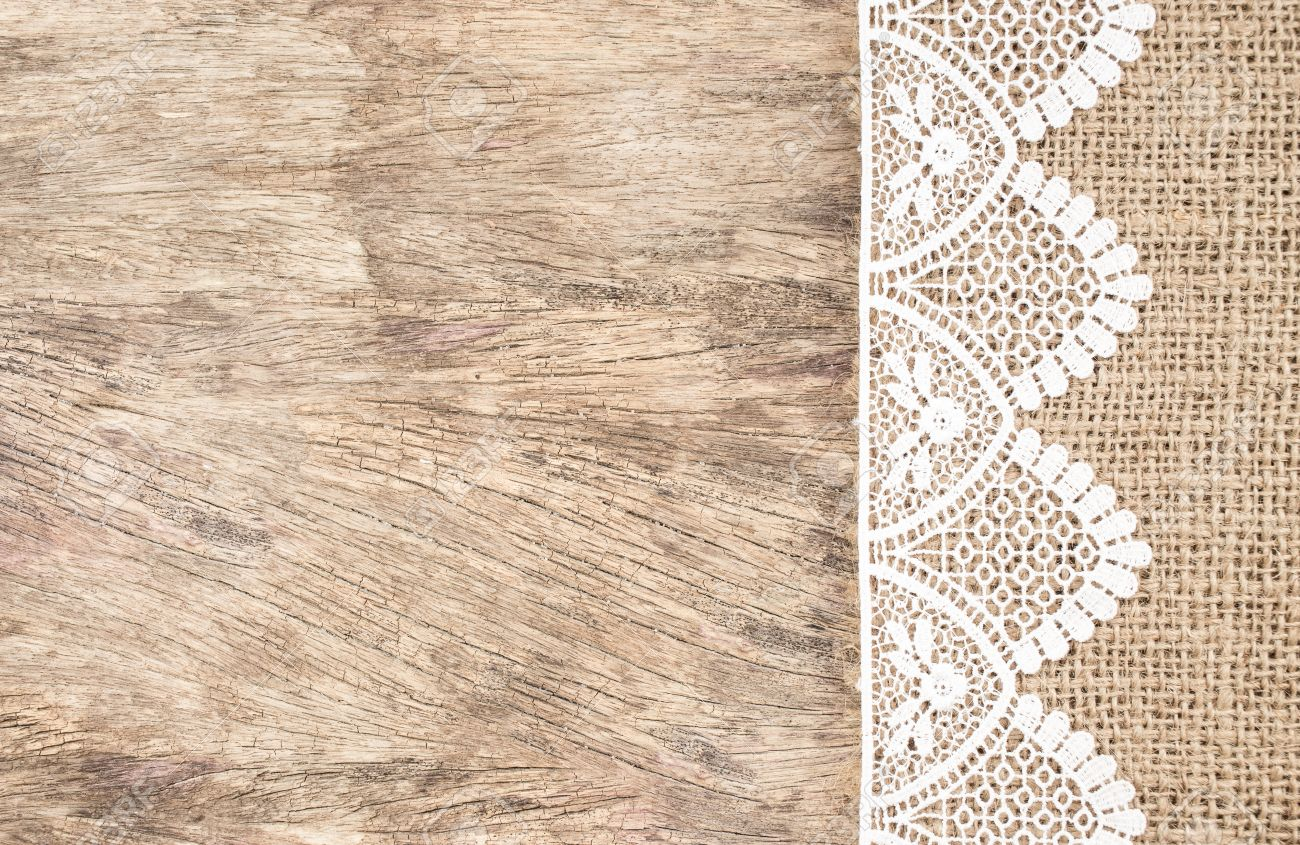 White wooden table texture - Burlap Texture With White Lace On Wooden Table Background Design For Background Stock Photo 35591342
