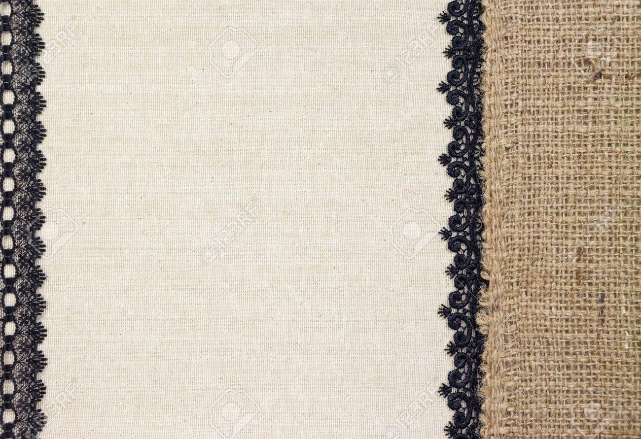Textil De Tela Con Arpillera Y El Cordón Negro Como Diseño De Marco ...