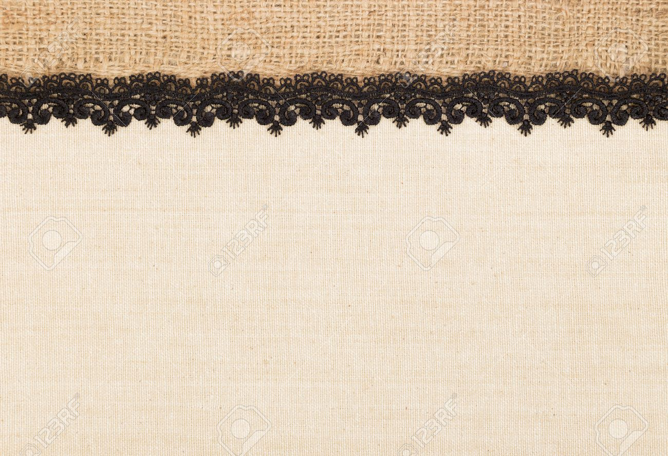Canvas Texture With Burlap And Black Lace As Frame Design For ...