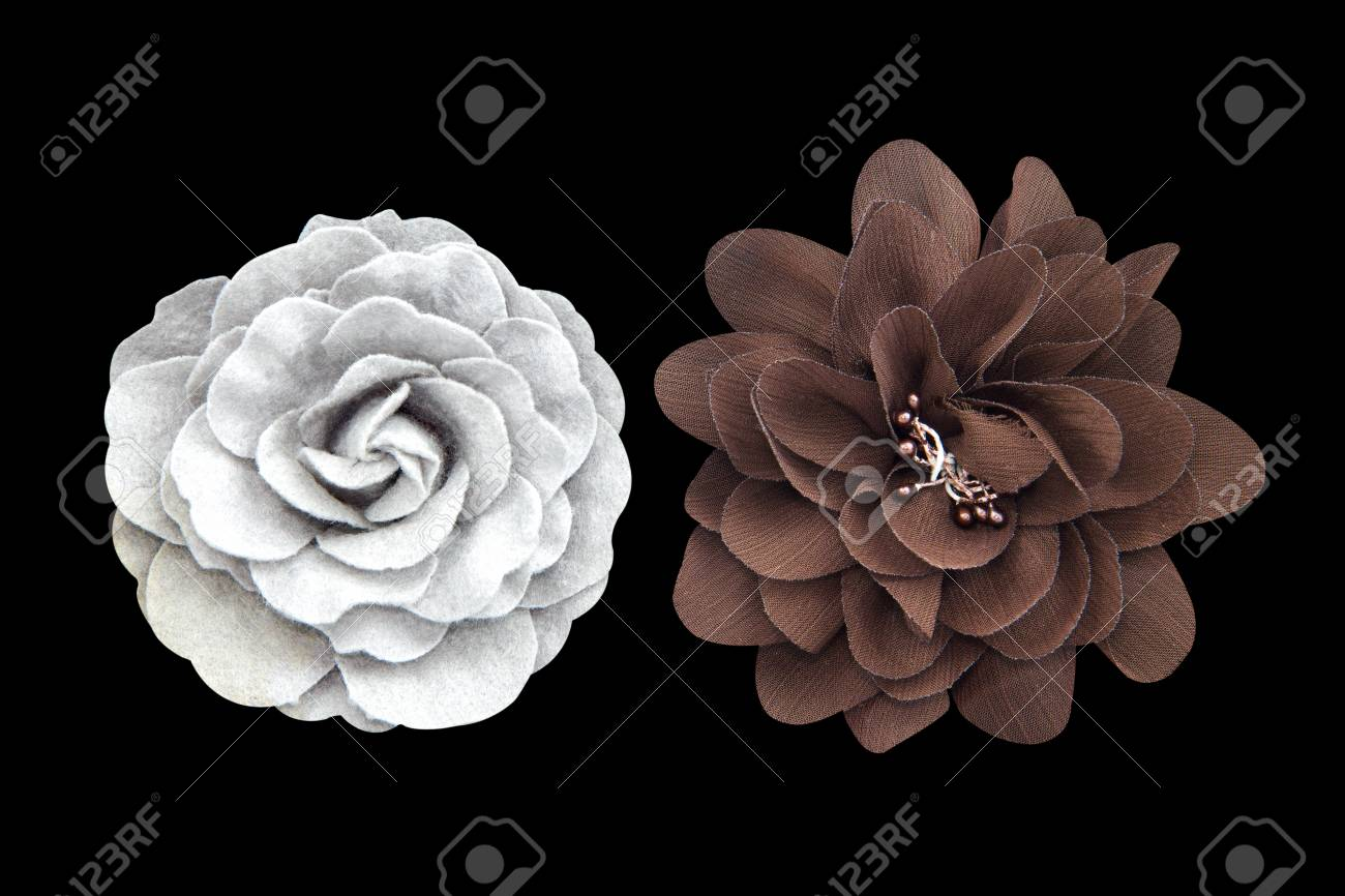 Beautiful Cloth Artificial Flowers Isolated On Black Stock Photo