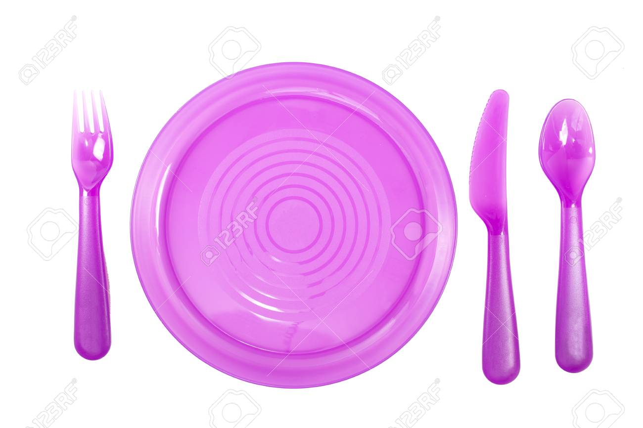 Purple Color plastic plates with utensils isolate on white background Stock Photo - 46444243  sc 1 st  123RF.com & Purple Color Plastic Plates With Utensils Isolate On White ...