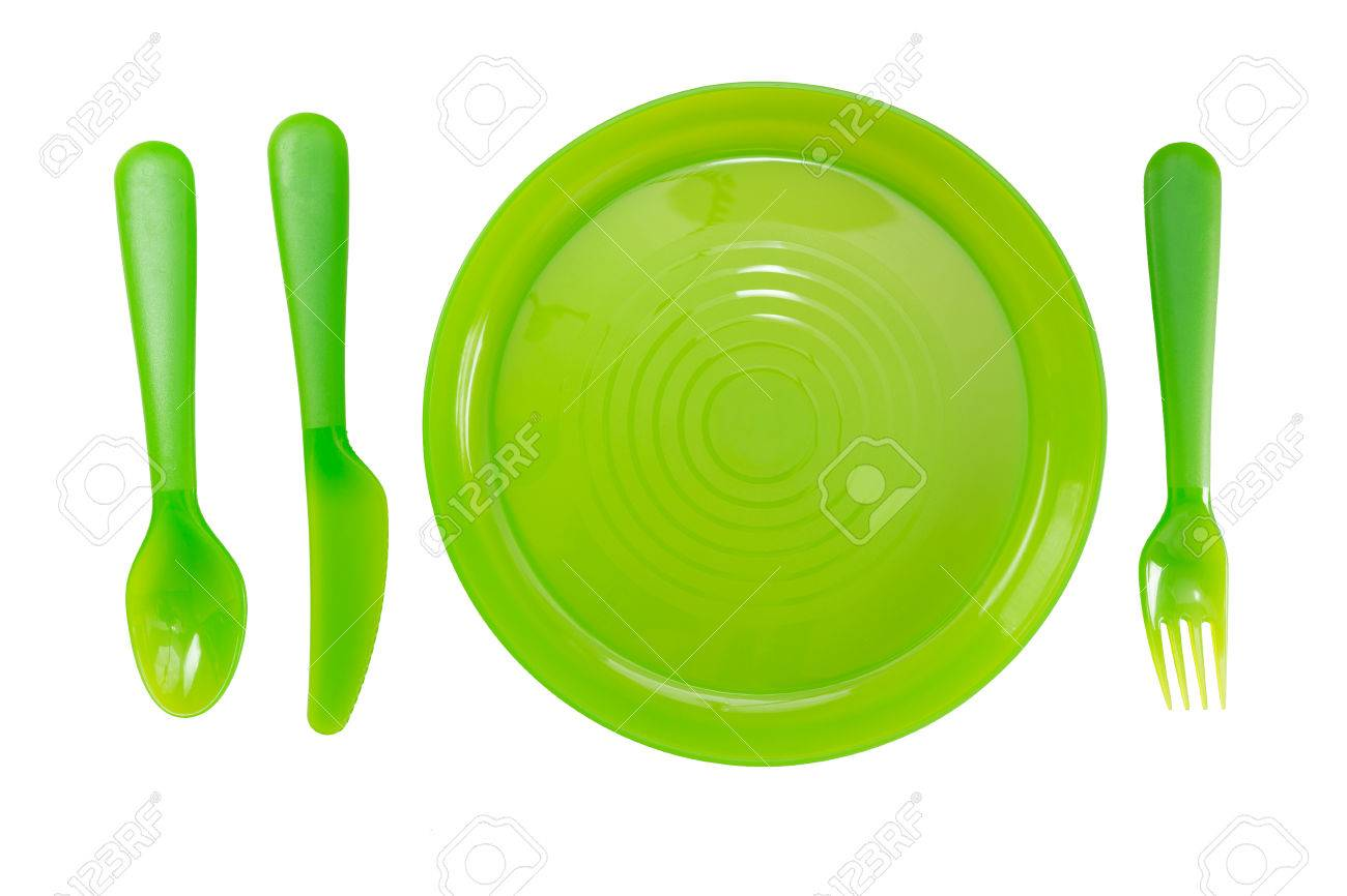 Green Color plastic plates and tableware isolate on white background Stock Photo - 46947067  sc 1 st  123RF.com & Green Color Plastic Plates And Tableware Isolate On White Background ...