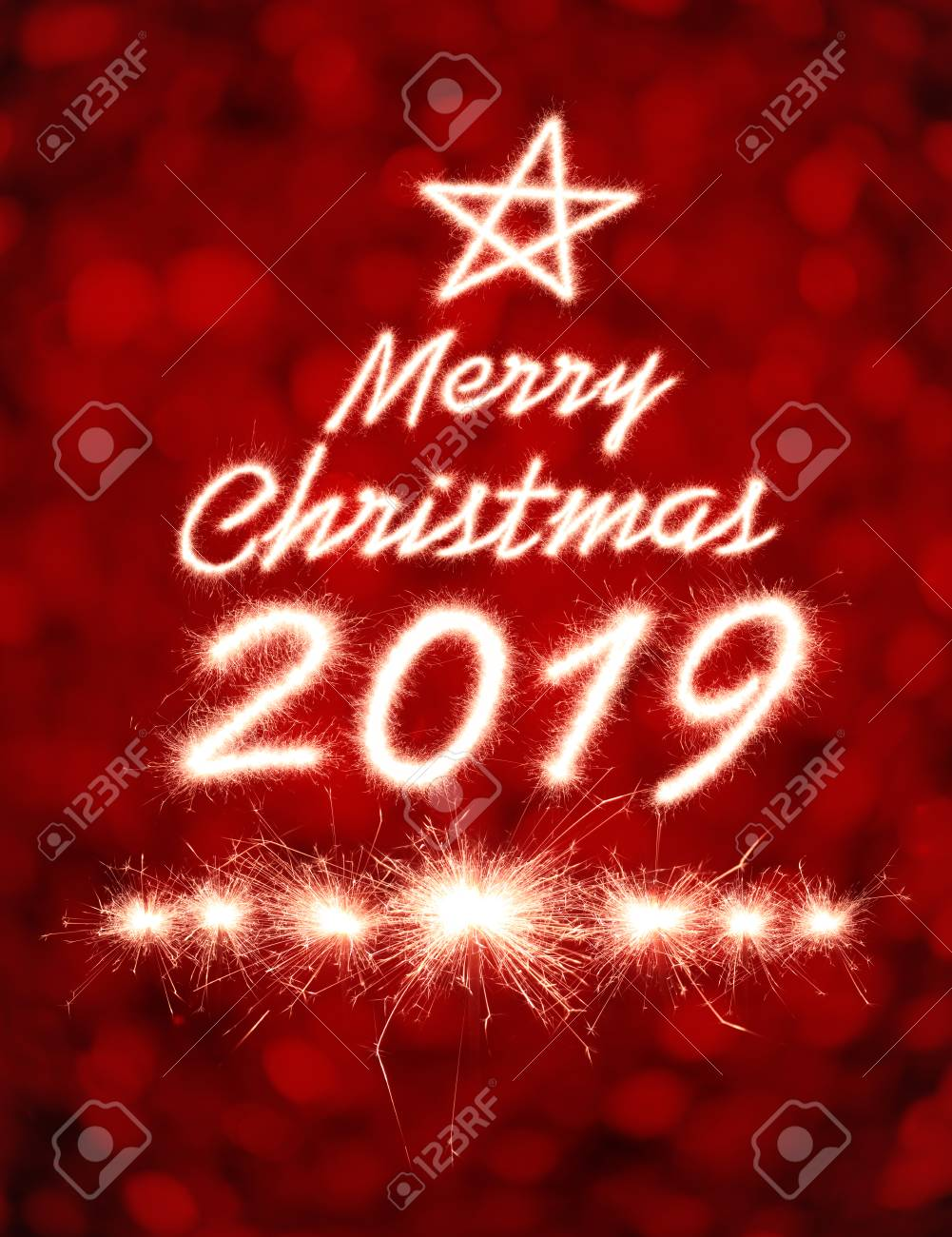 Merry Christmas 2019.Merry Christmas 2019 Written With Sparkle Firework Over Bokeh