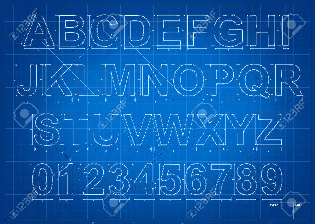 Architect blueprint alphabet letters with mesure and lines stock architect blueprint alphabet letters with mesure and lines stock photo 48342229 malvernweather Gallery