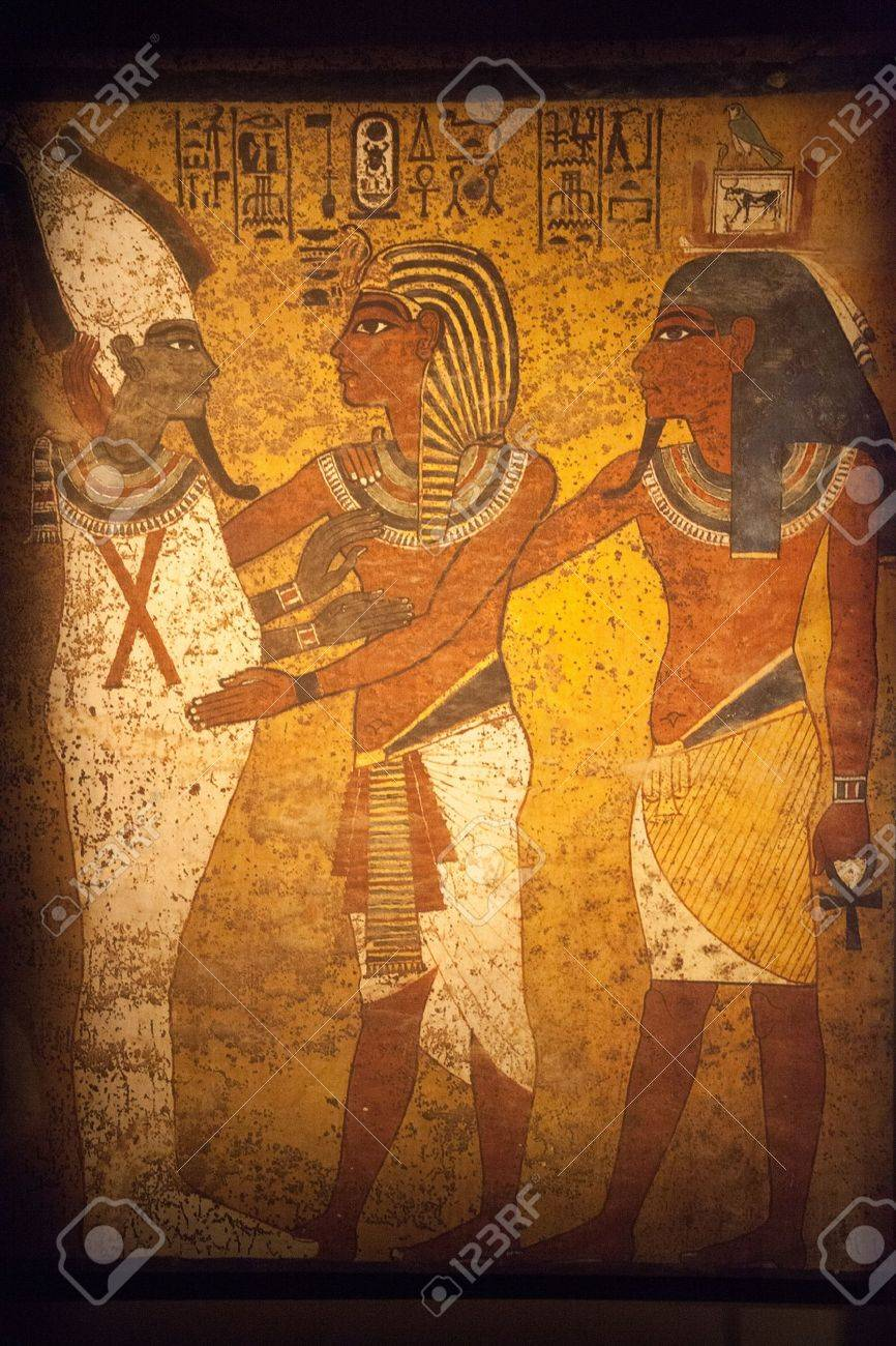 Scene From Egyptian Wall Mural Original Piece Stock Photo Picture