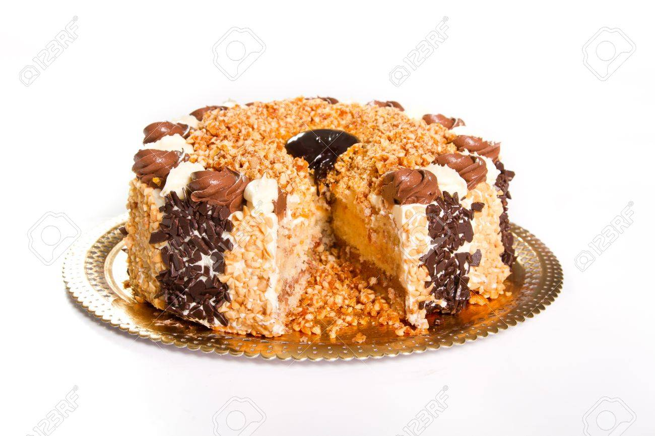 Chocolate cake with crushed nuts Stock Photo - 16122338