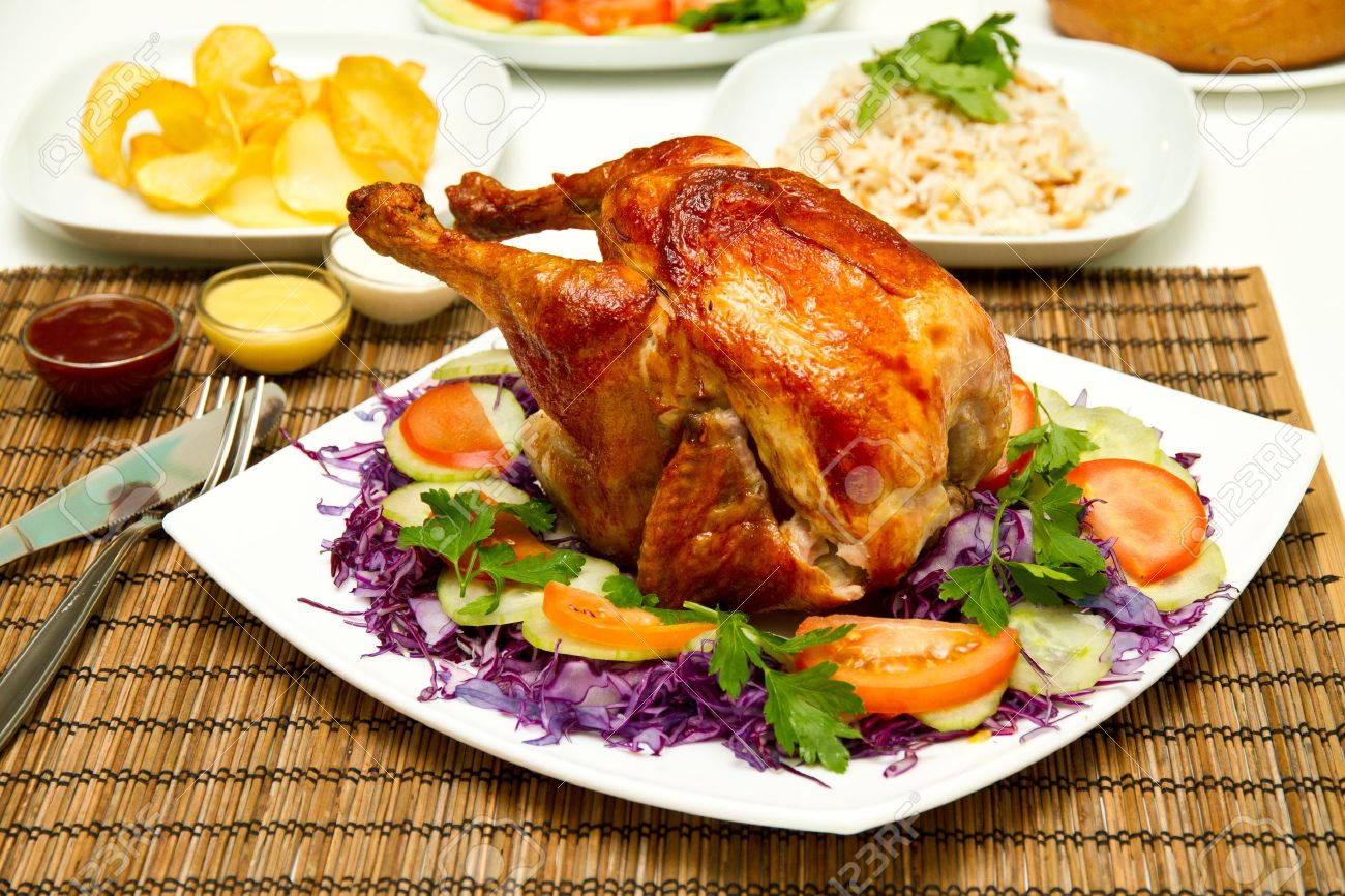 charcoal baked chicken and side dishes stock photo picture and