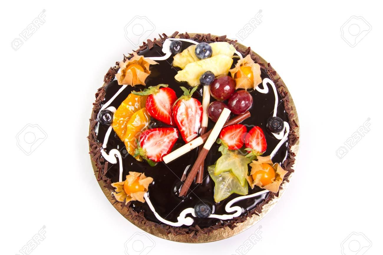 Chocolate Cake With Fresh Fruit Decoration