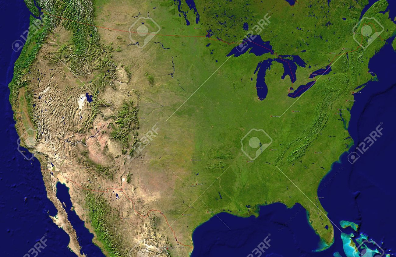 A satellite map of USA and neighboring countries with the main.. on