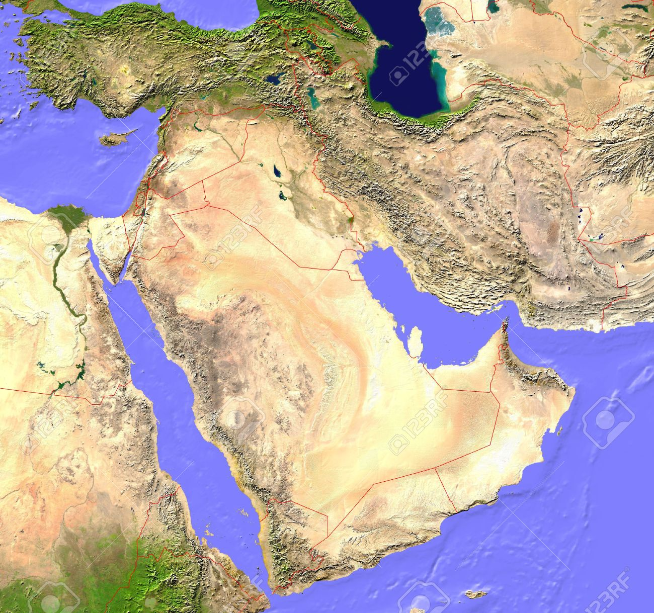 Middle East Satellite Map With Borderlines Stock Photo Picture And