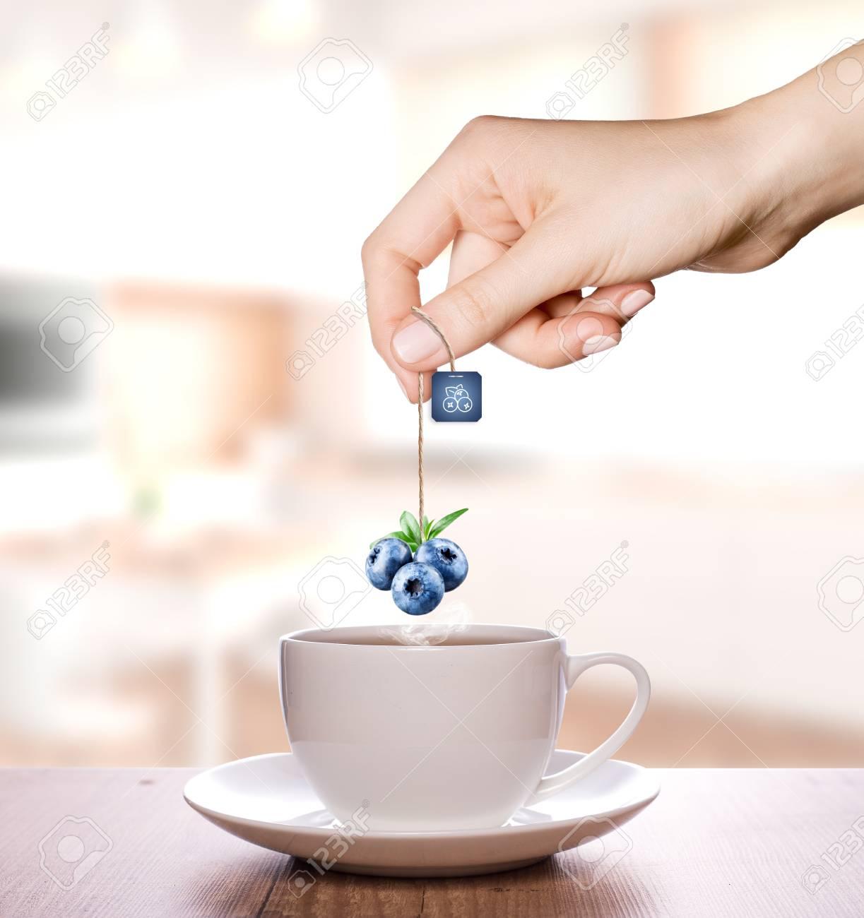 Blueberry tea in a plain white cup   Fruit Tea