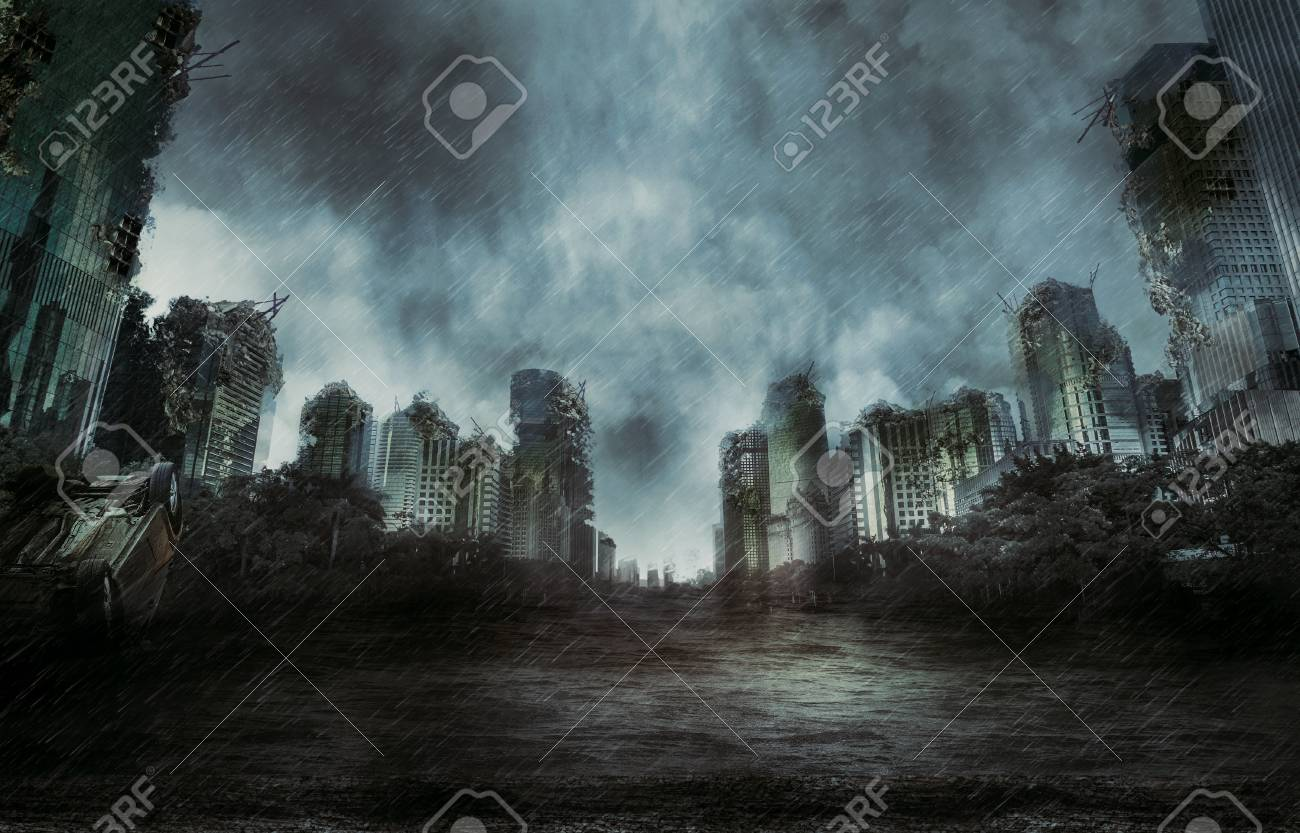 Rain In The Destroyed City Stock Photo Picture And Royalty Free Image Image 92174978