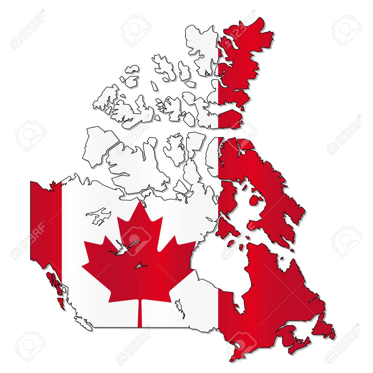 Canada Flag Map Royalty Free Cliparts, Vectors, And Stock