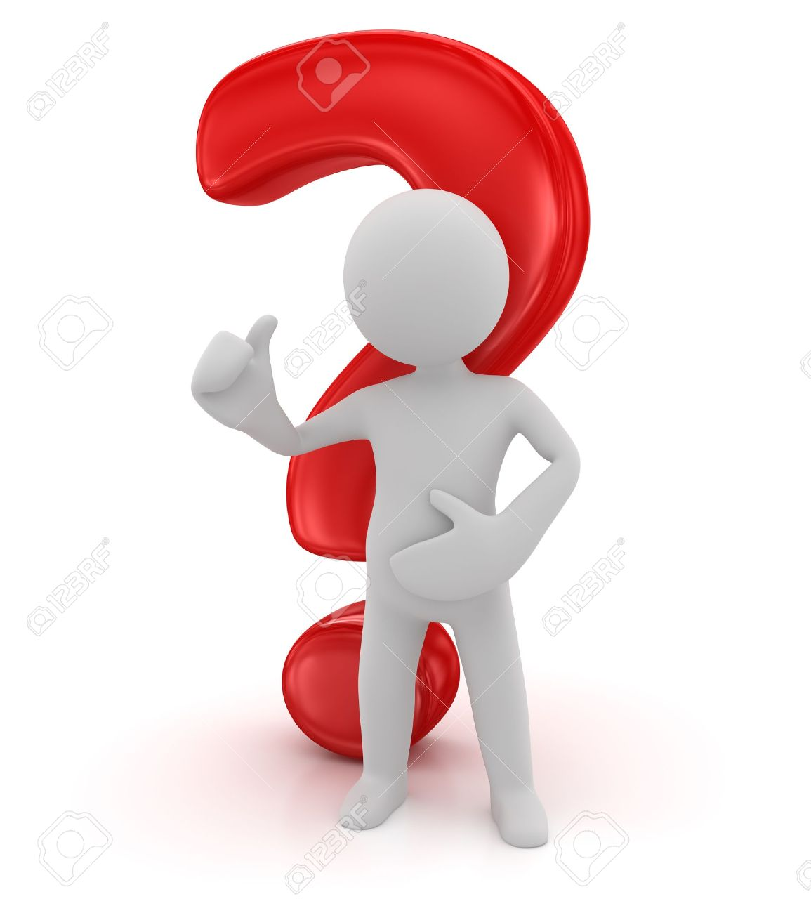 Question mark and character , computer generated image  3d render Stock Photo - 17442800