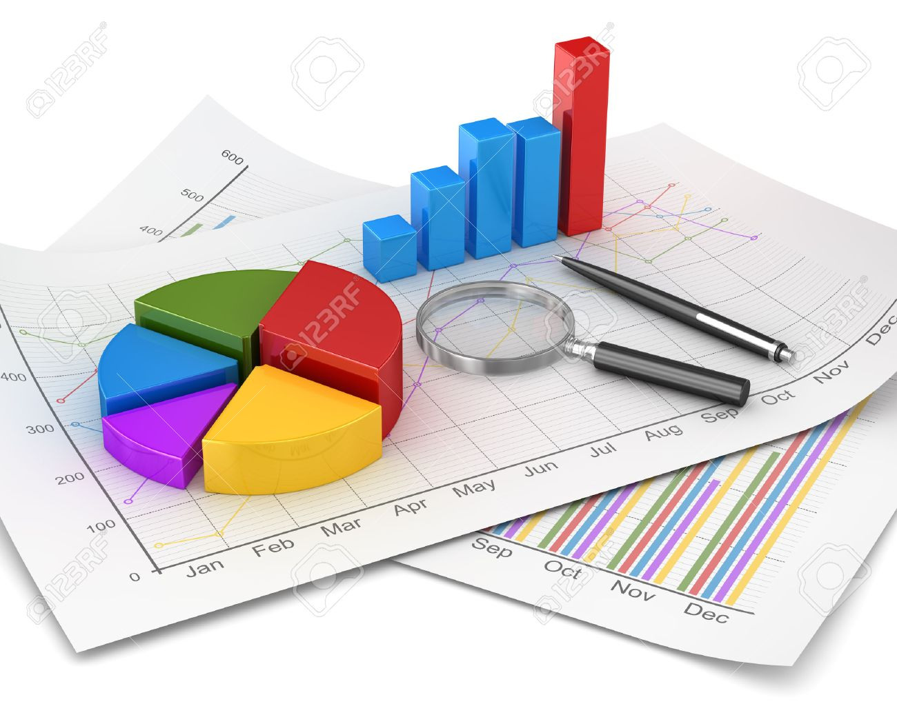 Business chart and finance concept, pie and bar chart and magnify glass and pen on financial paper. 3d render image and computer generated image. - 38393195