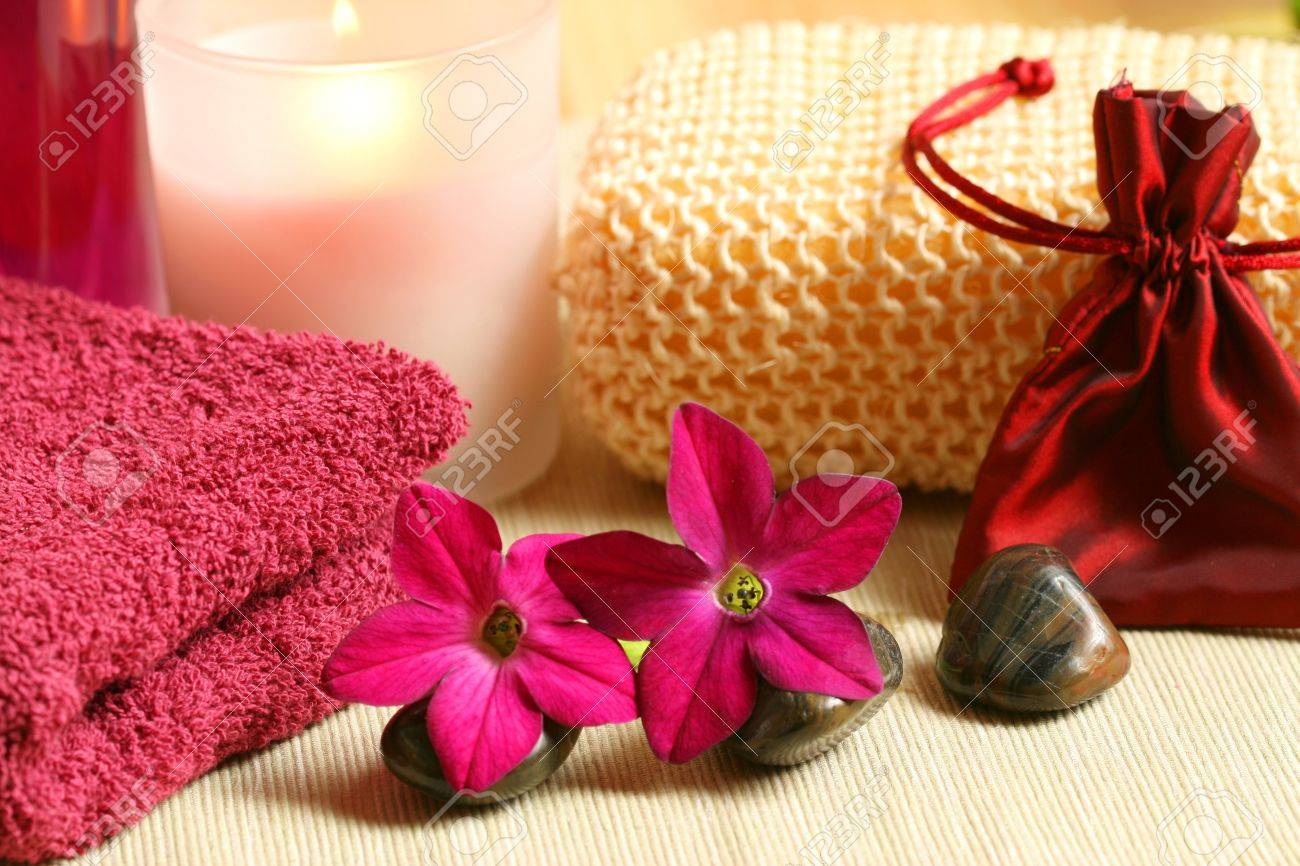 Colour therapy for relaxation - Luxury Spa Resort Therapy In Claret Colour Relaxation Moments Stock Photo 7150514