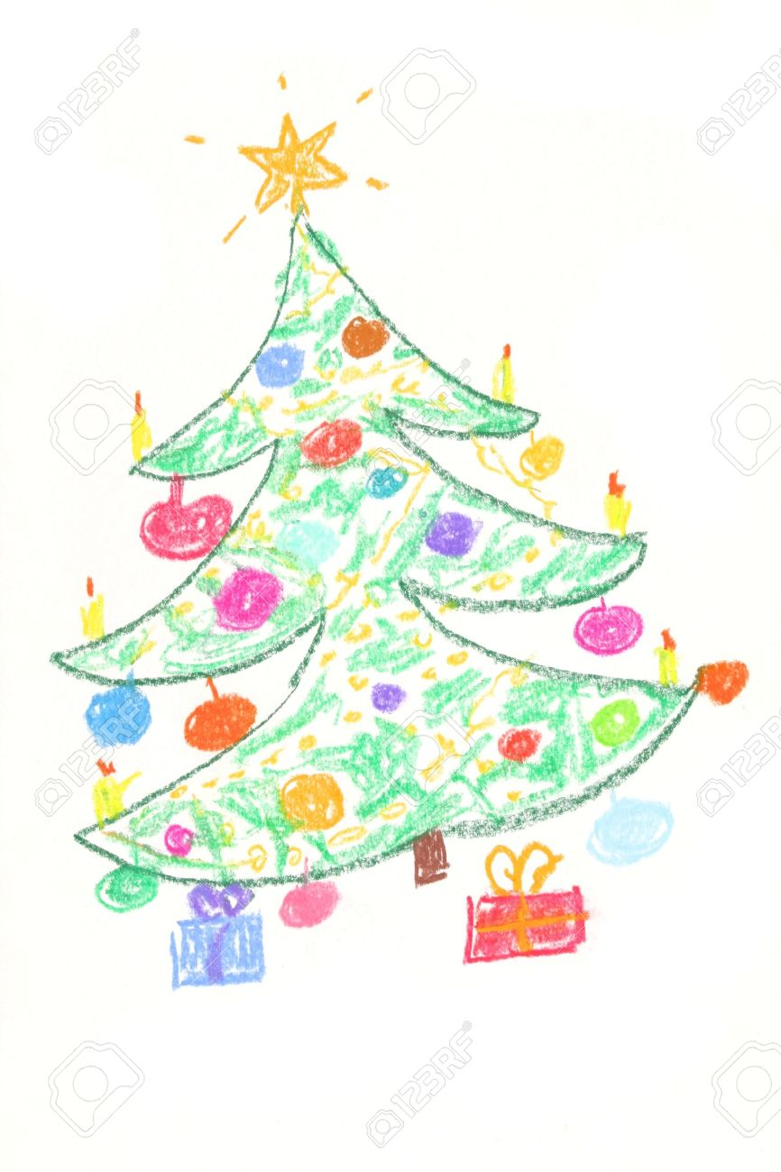 Beautiful Decorated Christmas Tree With Gifts Drawing By Children