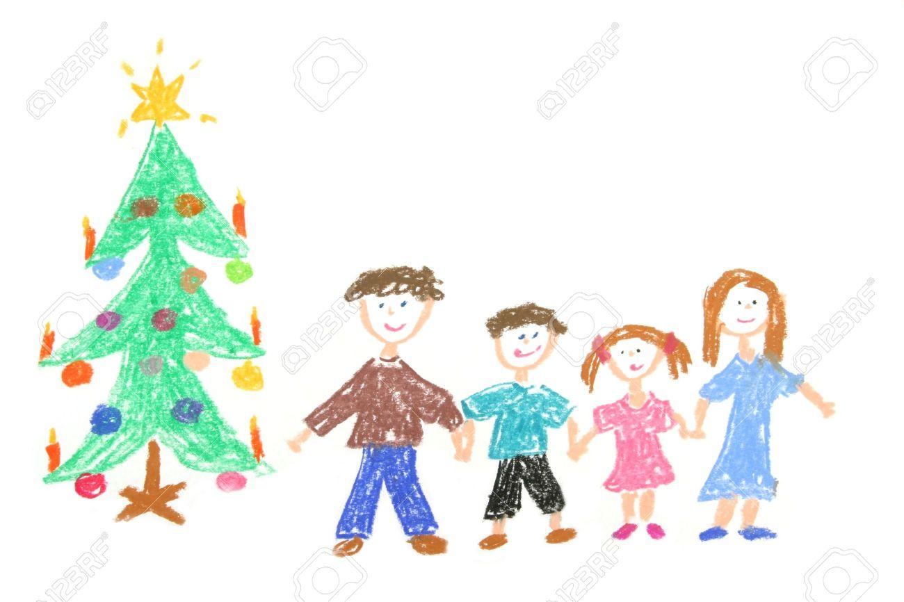 Familia Feliz Con El Arbol De Navidad Decorado Childs Dibujo Hecho