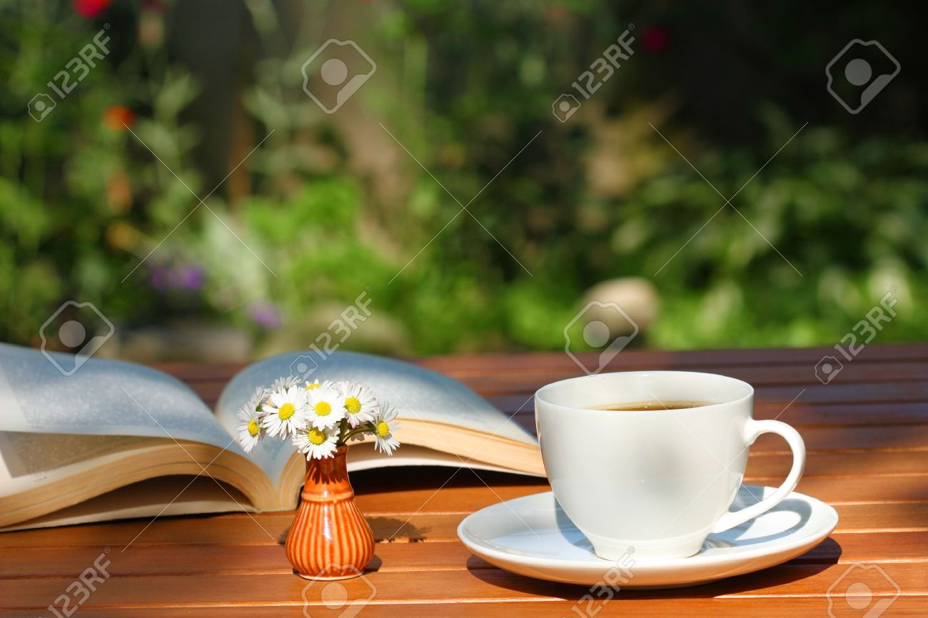 Coffee and book on the garden table - 8037236