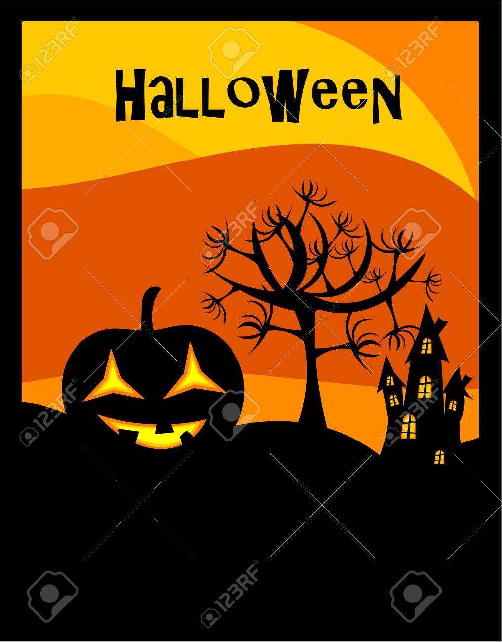 Halloween background with lantern Stock Vector - 8069080