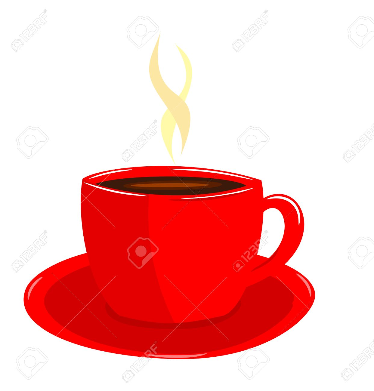 Steaming coffee in red cup illustration Stock Vector - 8069067