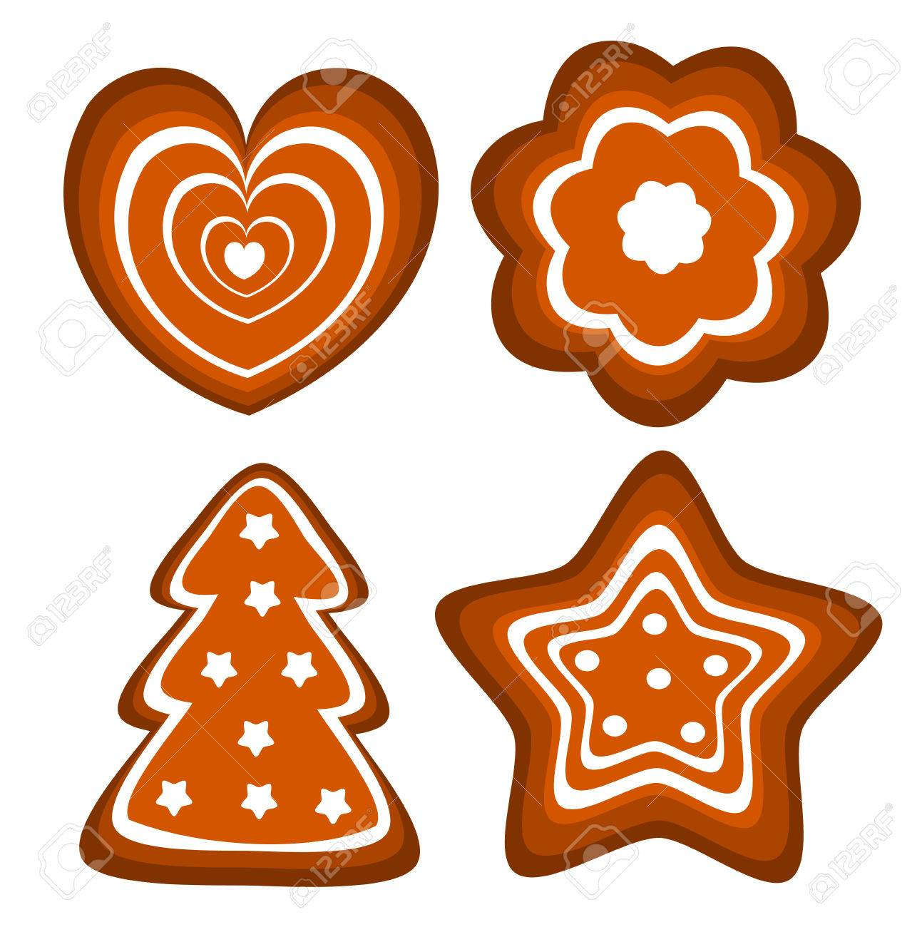 Set of Christmas gingerbread cookies illustration Stock Vector - 8069070