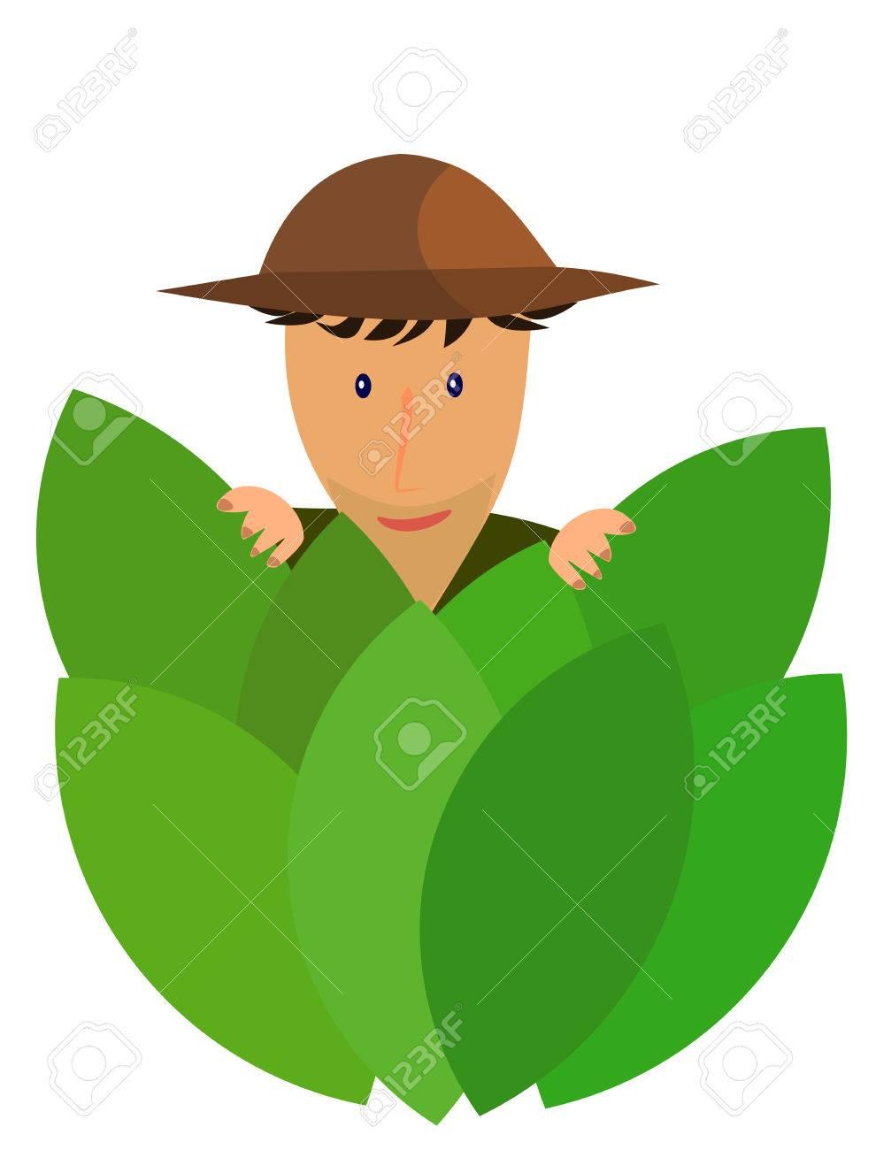 An explorer hidden behind jungle leaves Stock Vector - 8069066