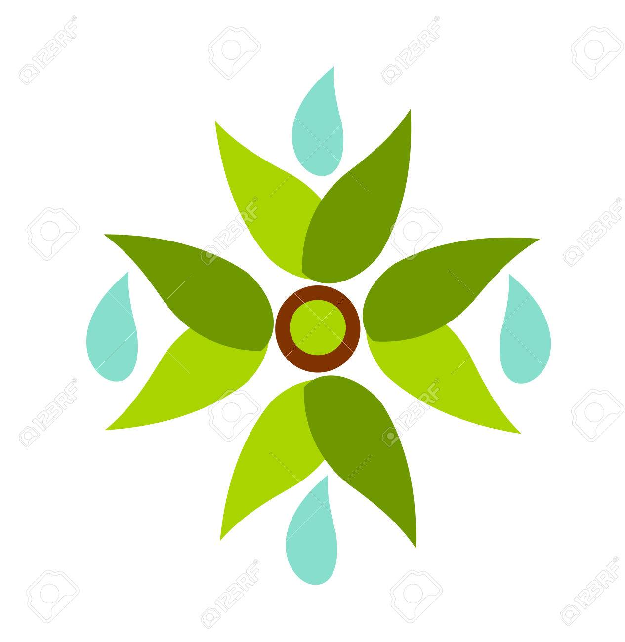 Symbolic fan made of green leaves with waterdrops illustration Stock Vector - 8173704