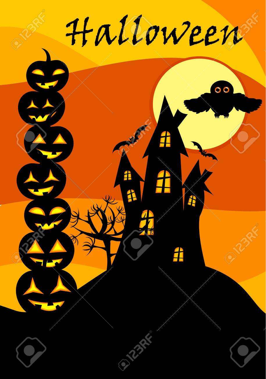 halloween card with castle jack o u0027 lanterns stack and owl over