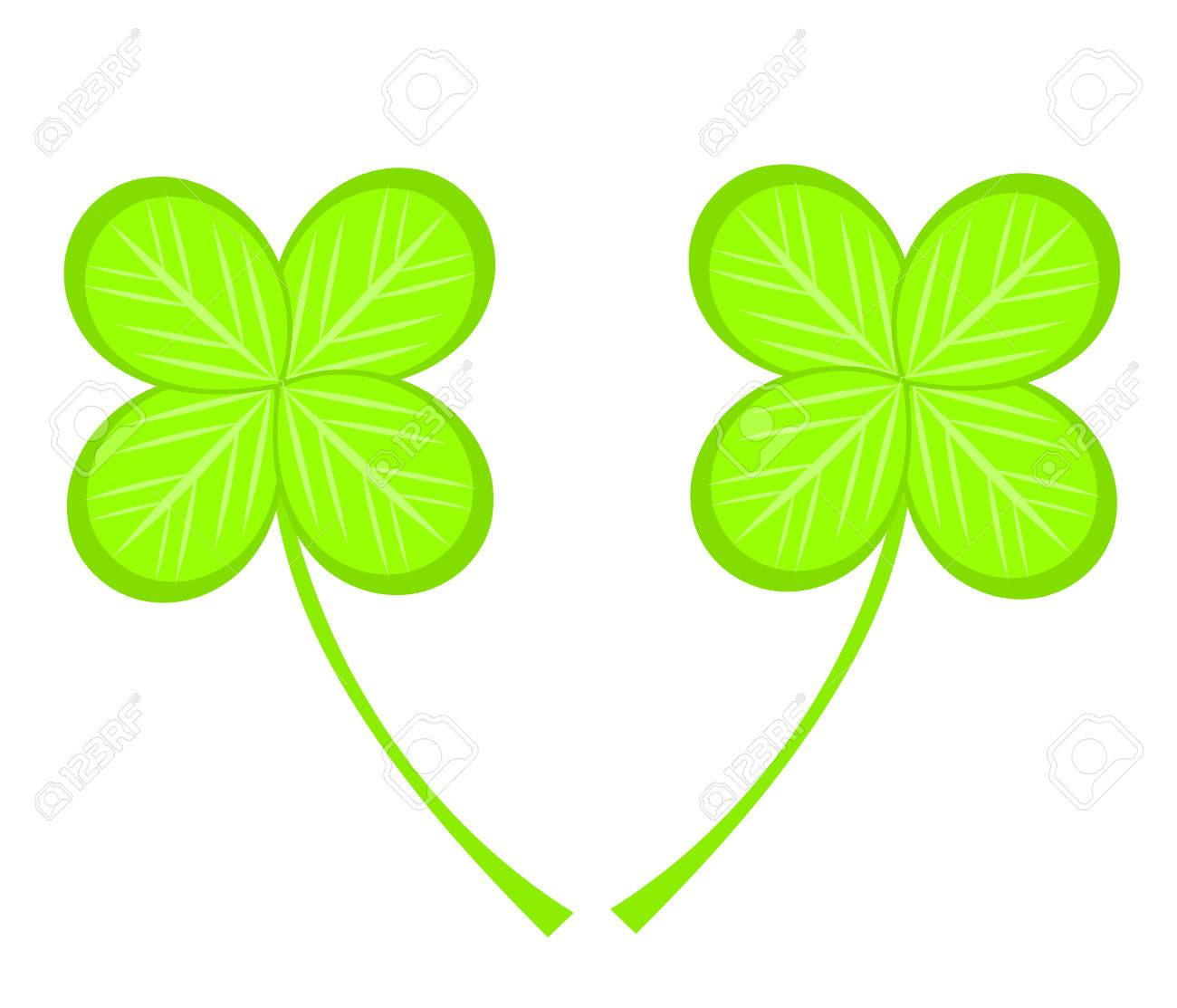 two four leaf clovers illustration royalty free cliparts vectors