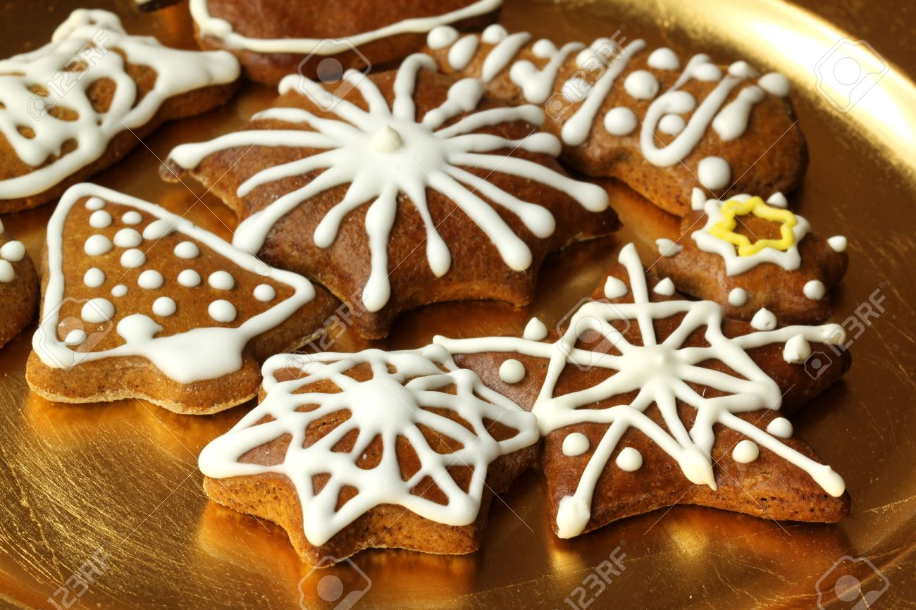Plate With Christmas Cookies Decorated With White Icing Stock ...