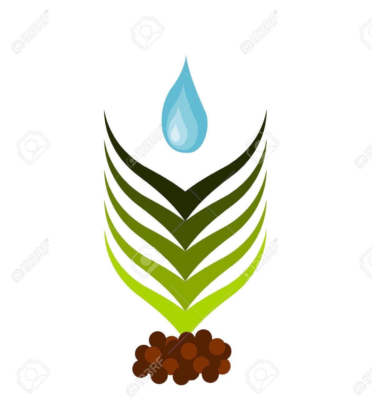 Plant growing from soil watered. Symbolic illustration Stock Vector - 8556099