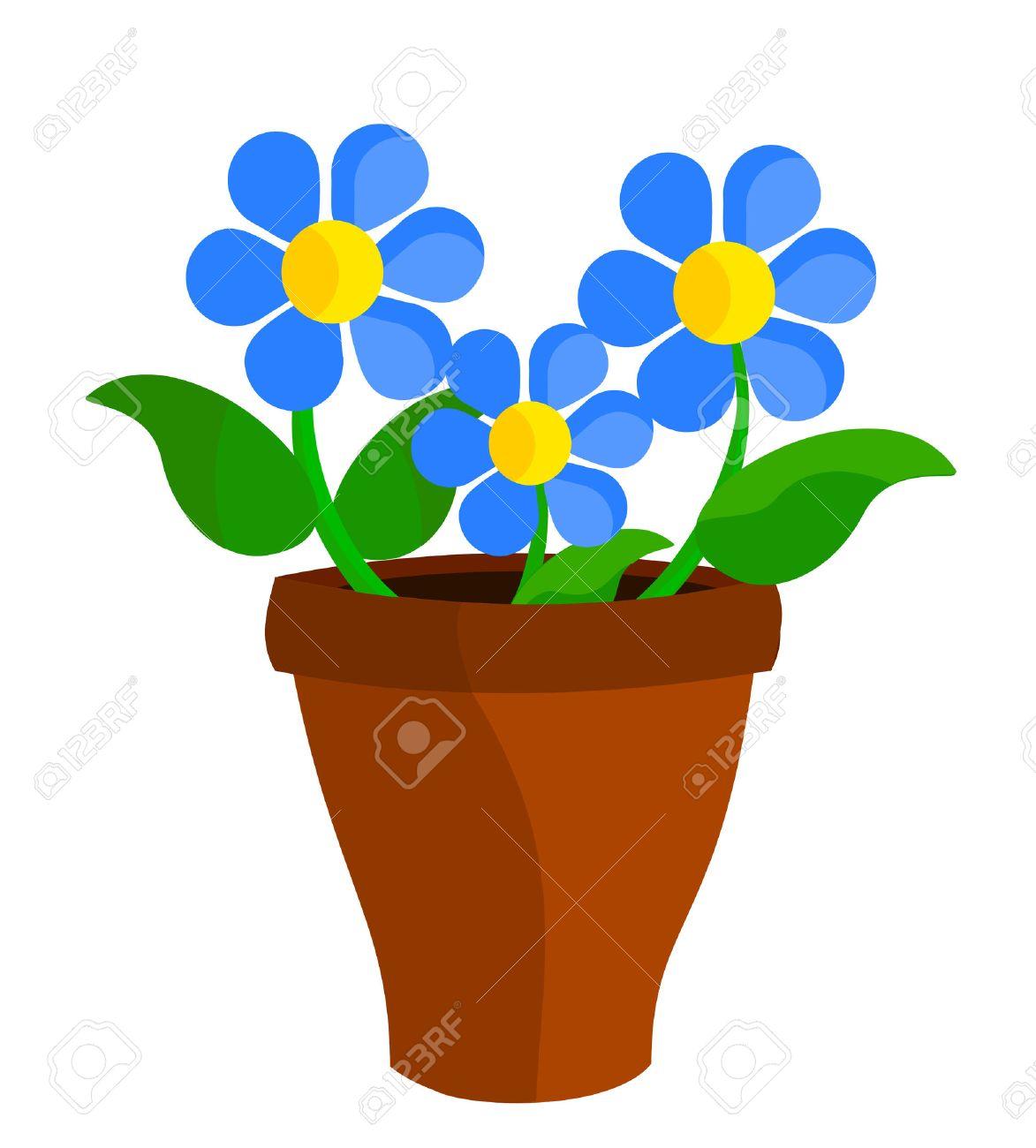 Three blue flowers in flowerpot Stock Vector - 8556116