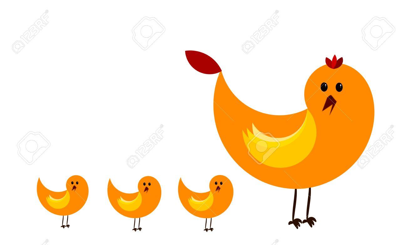 big hen and three chicks royalty free cliparts, vectors, and stock