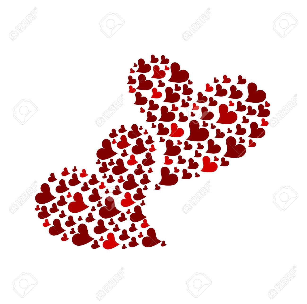 Two red hearts made of small hearts isolated. illustration Stock Vector - 8641556