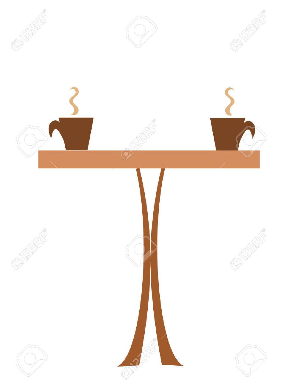 coffee table with two cups of steaming coffee royalty free