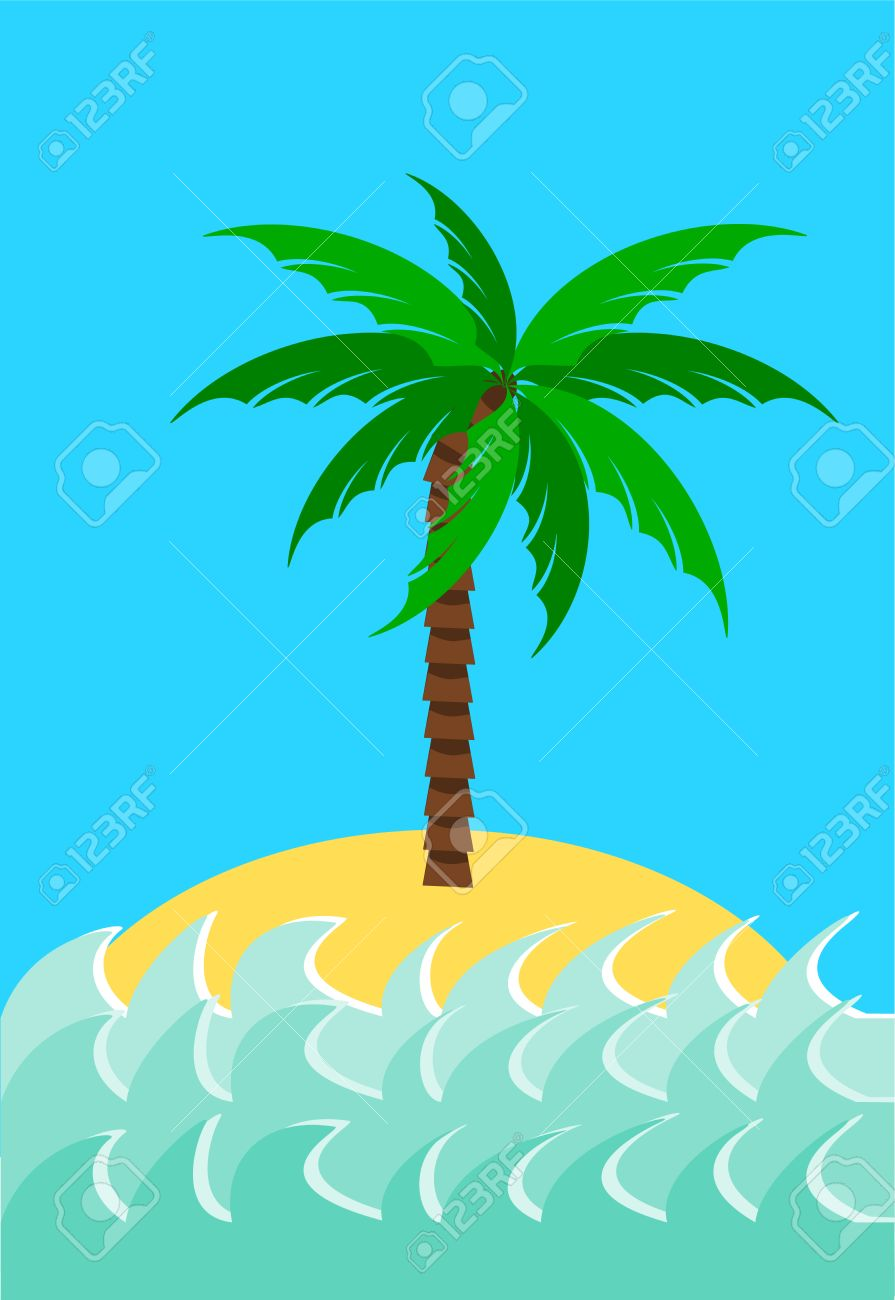 Desert island with palm tree illustration Stock Vector - 8734146