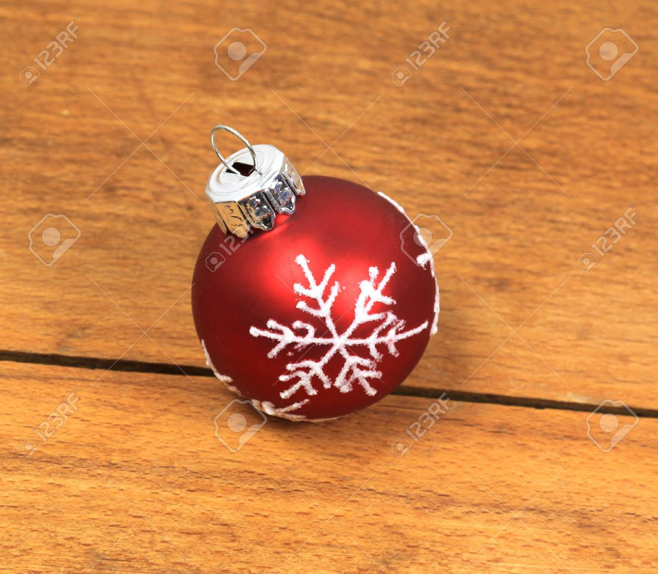 Red glass ball ornaments - Christmas Red Glass Ball With Ornament Snowflake Stock Photo 9251847