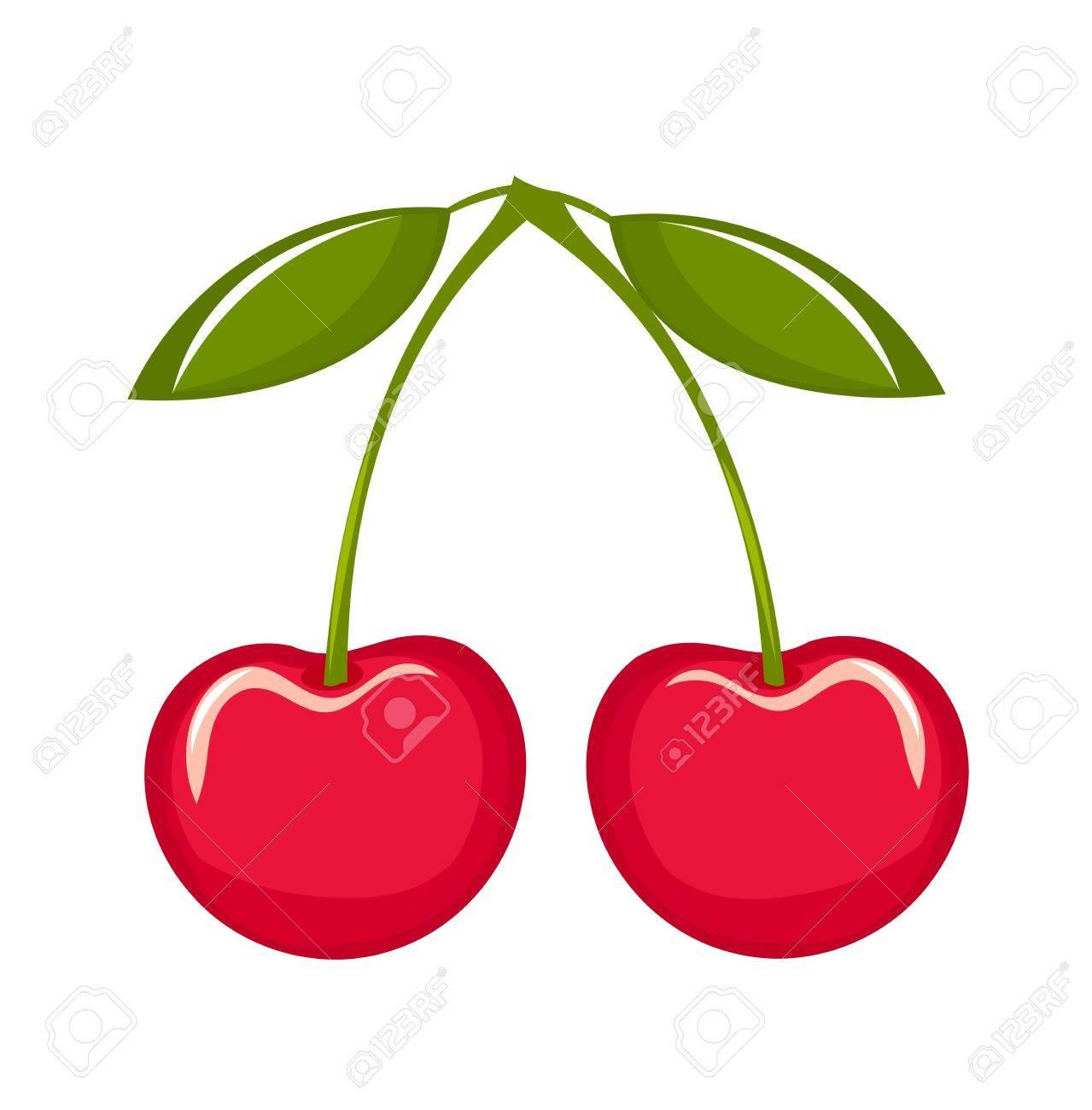Delicious cherries over white. Stock Vector - 9584350