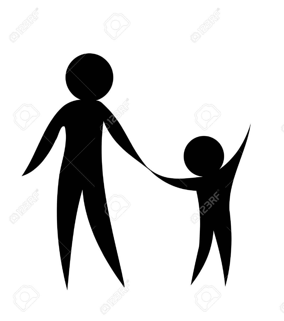 Parent and child holding hands together. Symbolic vector illustration Stock Vector - 9686370