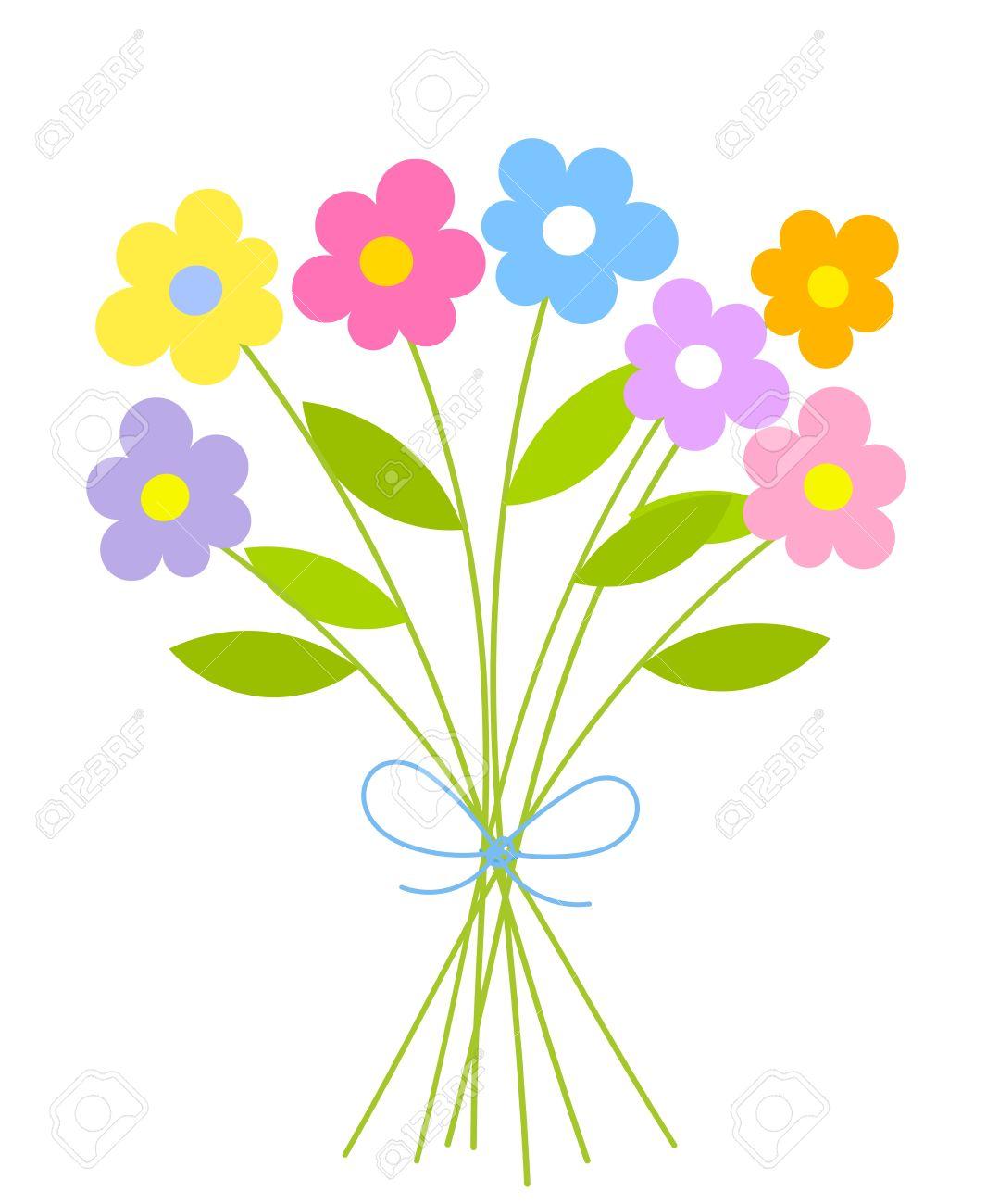 Cute bunch of flowers. Summer bouquet vector illustration Stock Vector - 9838056