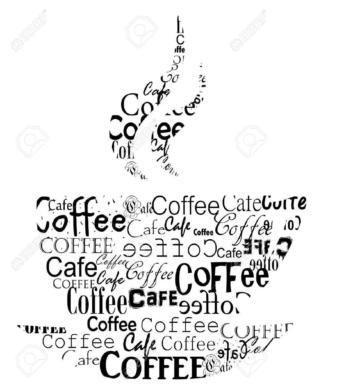 Transparent coffee cup made of various coffee captions. Vector illustration Stock Vector - 9838238